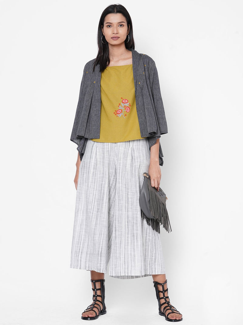 ZOLA Grey Spaghetti Top With Striped Pant and Jacket