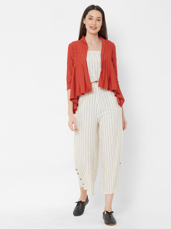 ZOLA Striped Top Pant Set with Rust High-Low Jacket