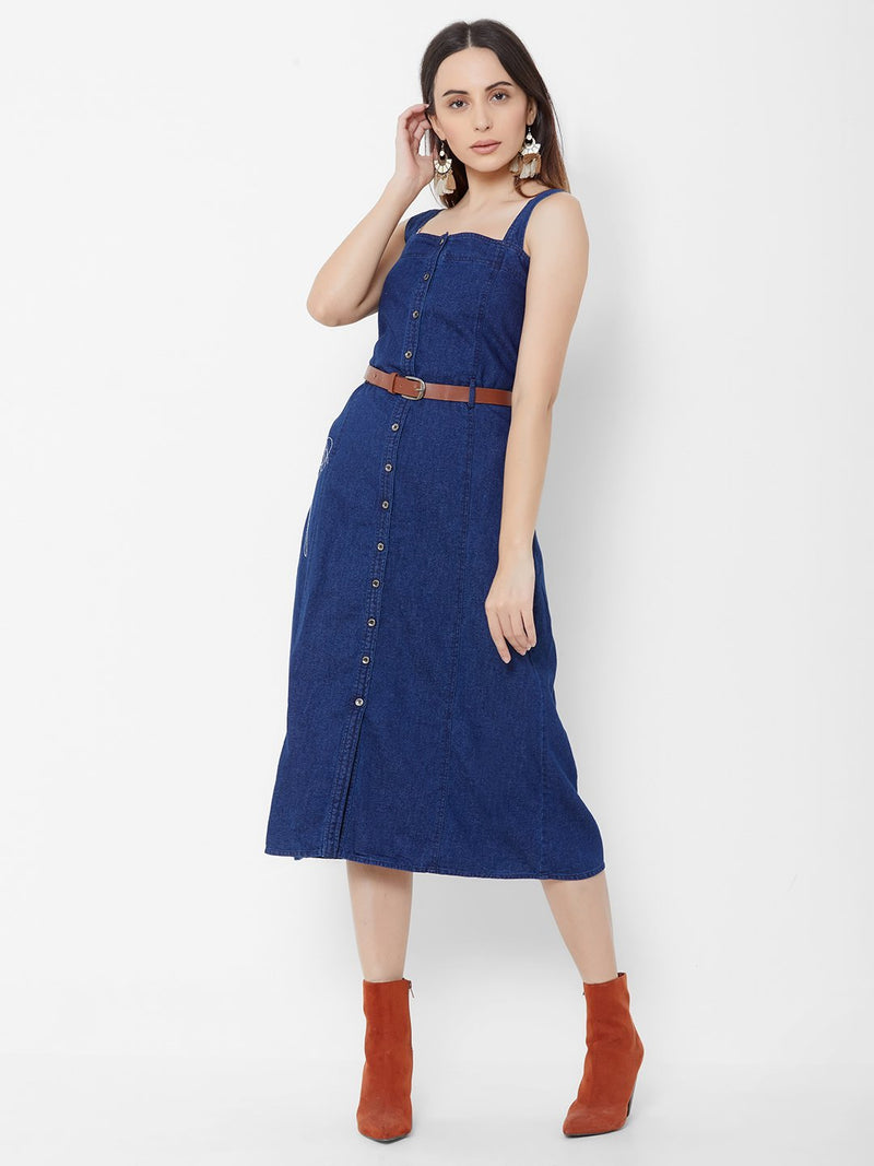 Denim dress with leather belt