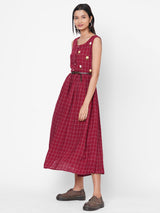 ZOLA Maroon Checkered Cotton Round Neck Dress for Women