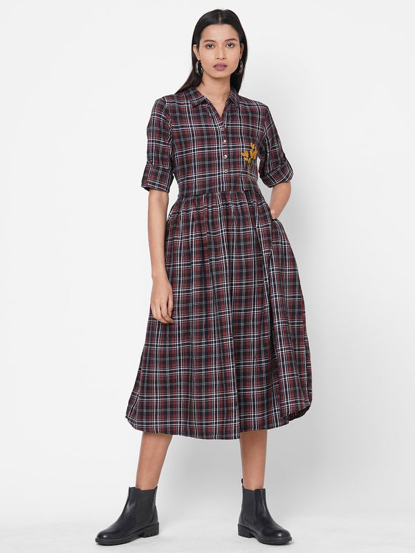 ZOLA Maroon Checkered Cotton Shirt Collar Dress for Women