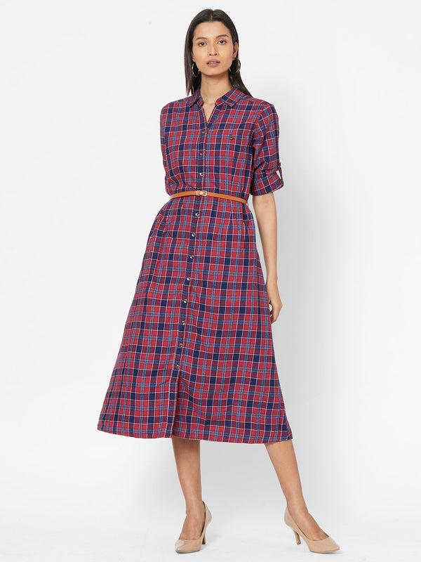 ZOLA Red Checkered Collar Neck Dress for Women