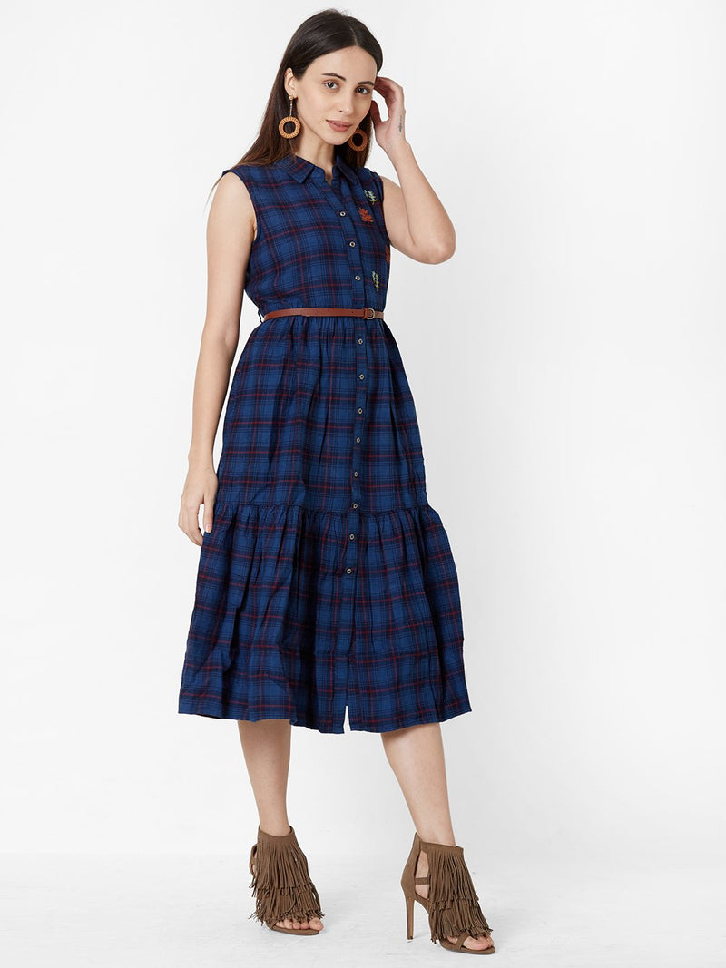 Checks Tent dress with Leather Belt