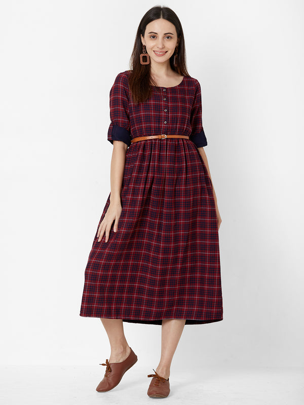 Maroon checks dress with leather Belt
