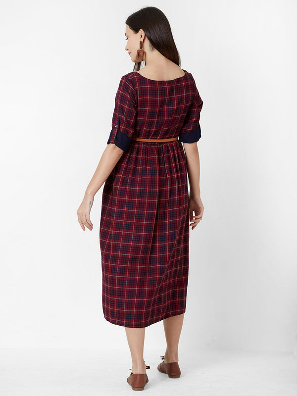 ZOLA Maroon checks dress with leather Belt