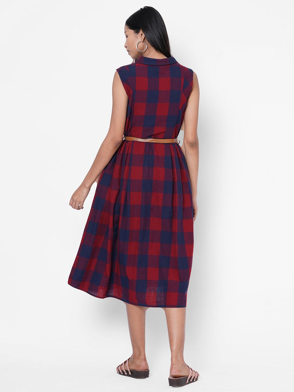 ZOLA Red Checkered Collar Neck Dress With Belt for Women