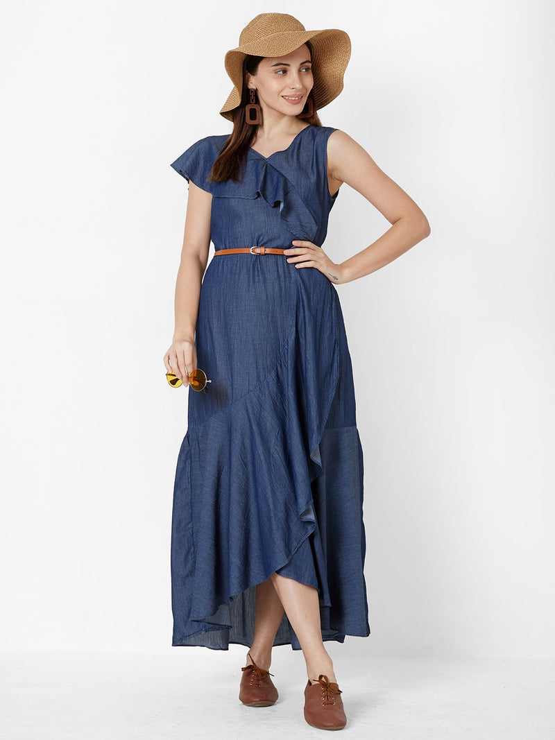 Asymmetric Denim dress with leather belt