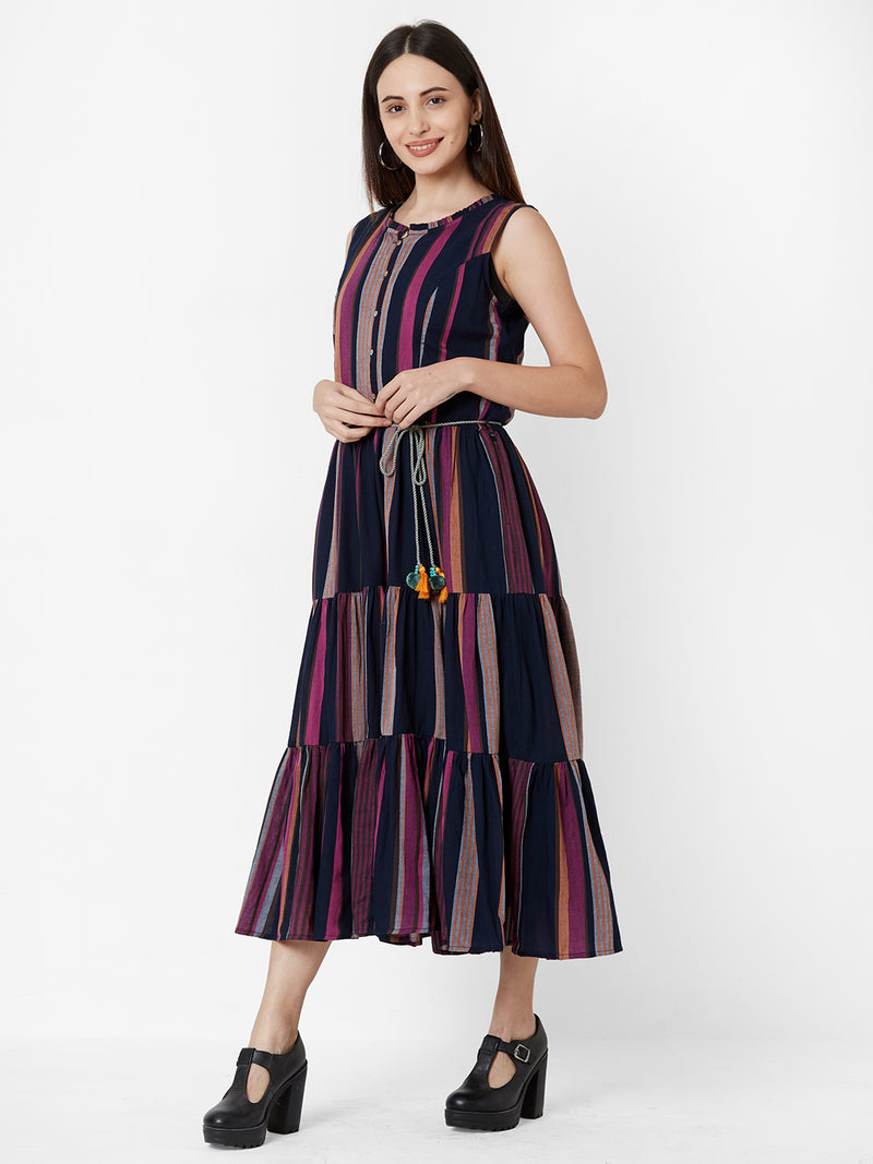Two Layered dress with fabric belt - Multi