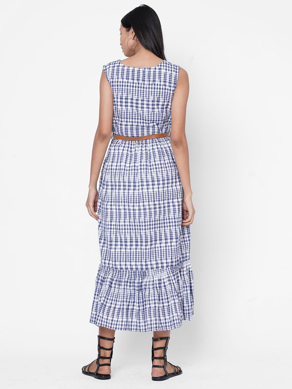 ZOLA Blue Checkered V Neck Kurta for Women