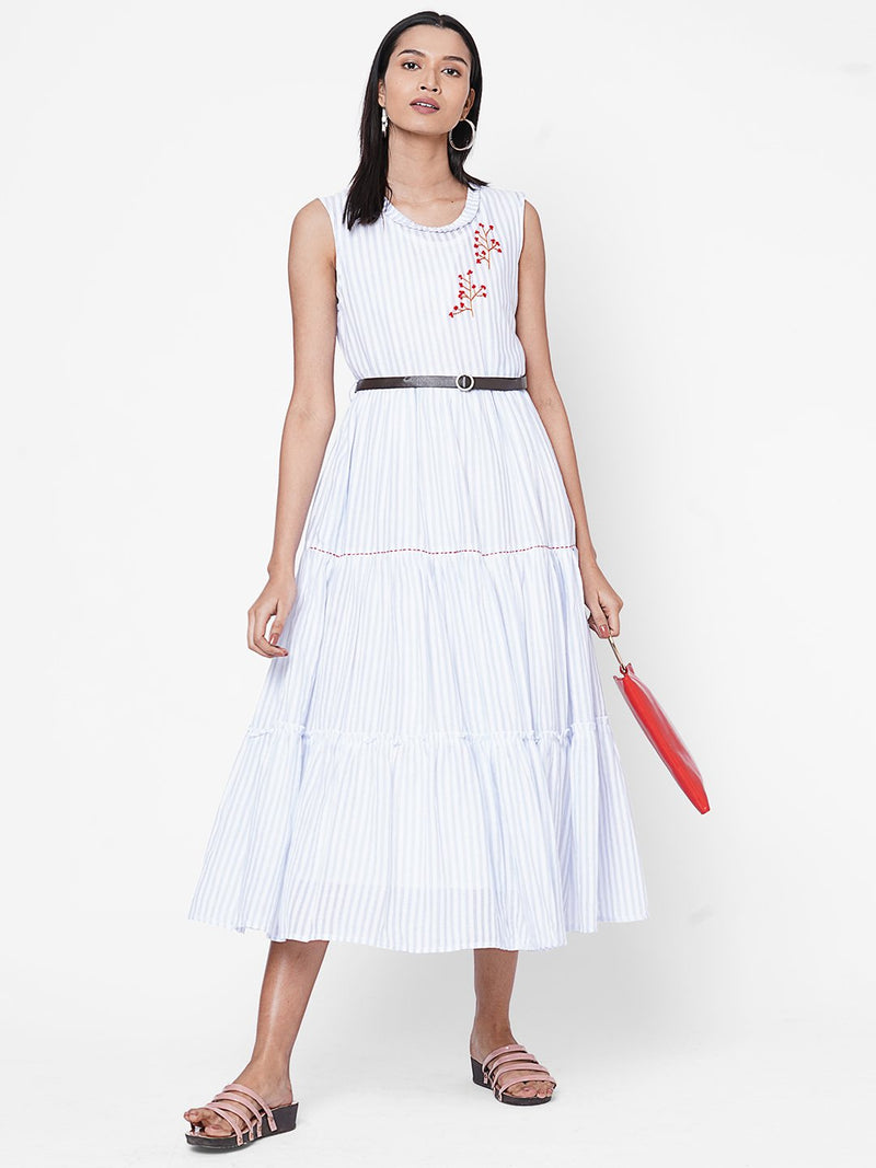 ZOLA White Striped Dress with Belt for Women