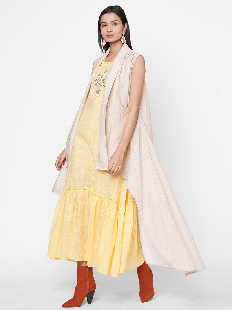 ZOLA Yellow Solid Layered Cotton Round Neck Dress for Women