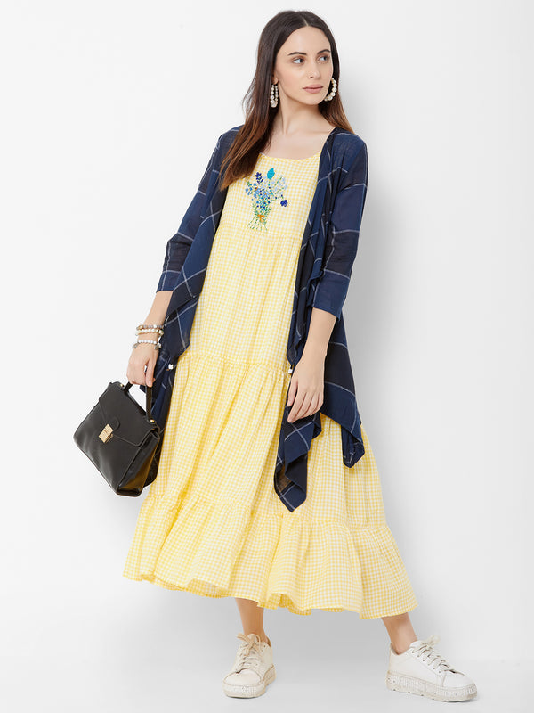 Three Layered dress with Asymmetric Checks jacket and Embroidery Lemon