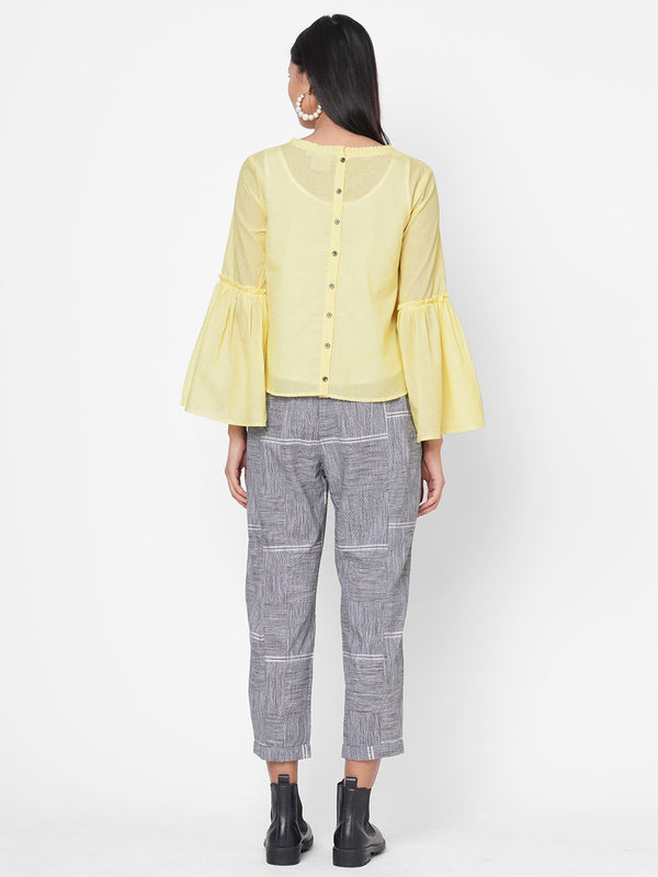 ZOLA Yellow Solid Bell Sleeves Co-ordinated Set for Women