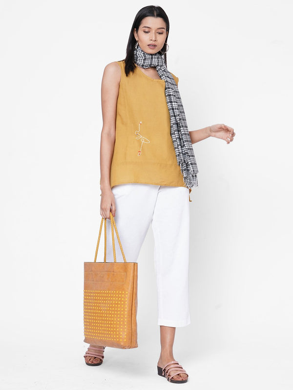 ZOLA Mustard Top and Pant with Scarf Set for Women