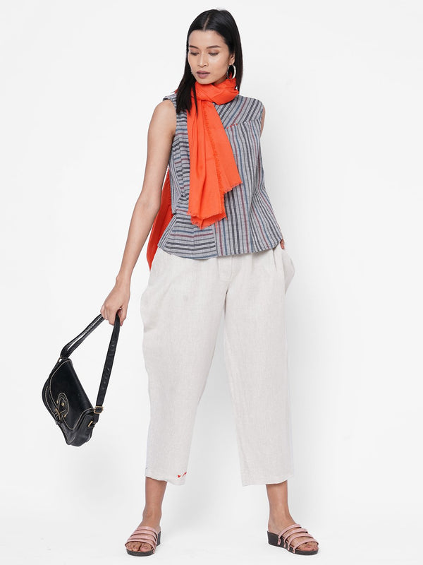 ZOLA Grey Striped Top and Pant Set With Scarf for Women