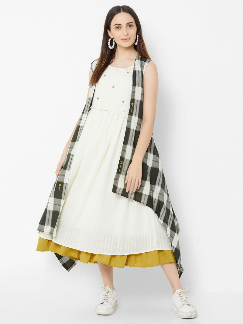 Three Layered dress with Asymmetric Checks jacket and Embroidery Off White