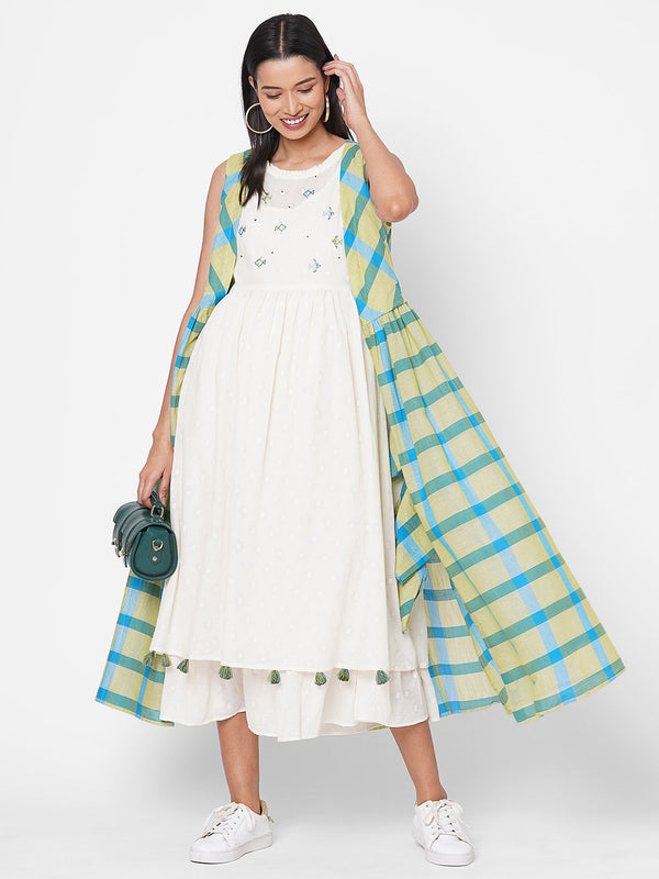 ZOLA Lemon Flared hand Embroidered Cotton Round Neck Dress for Women