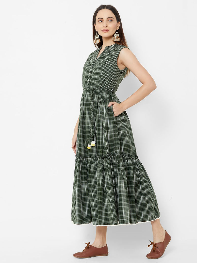 Olive Checks Tent Dress with Fabric Belt