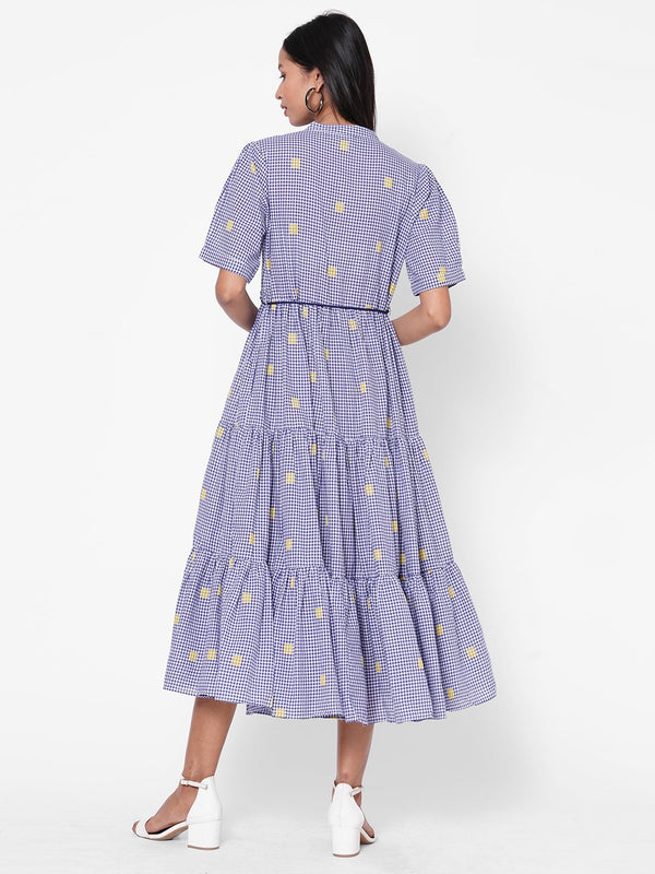 ZOLA Navy Blue Checkered Pleated Dress With Belt for Women