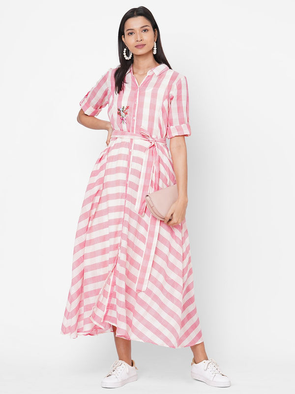 ZOLA Pink Striped Fit and Flare Cotton Shirt Collar Dress for Women
