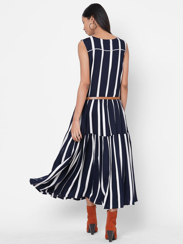 ZOLA Navy Blue Striped Tiered Rayon Round Neck Dress for Women