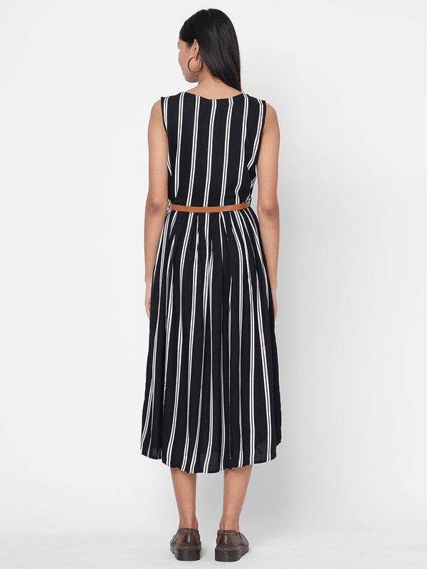 ZOLA Black Striped Tiered Rayon Round Neck Dress for Women