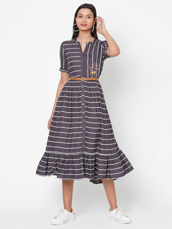 ZOLA Dark Grey Striped Fit and Flare Rayon Mandarin Collar Dress for Women