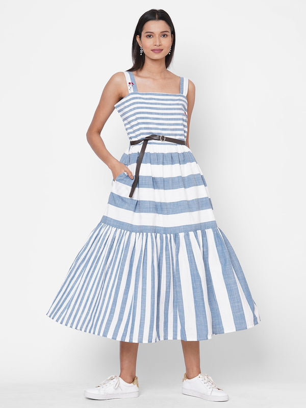 ZOLA Blue Striped Tiered Cotton Broad Neck Dress for Women