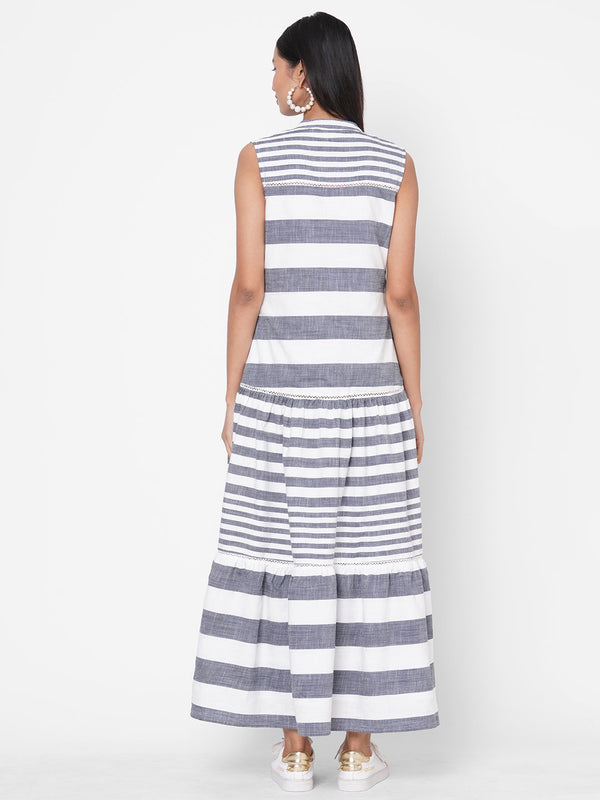 ZOLA Grey Striped Tiered Cotton Mandarin Collar Dress for Women