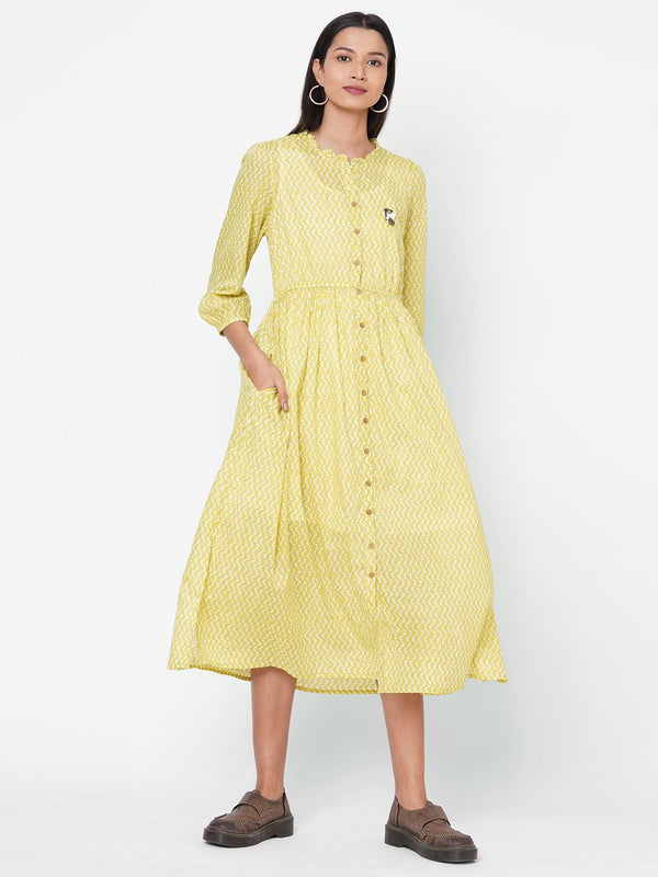 ZOLA Light Green Flared Cotton Mandarin Collar Dress for Women