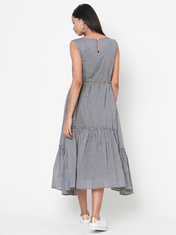 ZOLA Grey Striped Cotton Round Neck Dress for Women