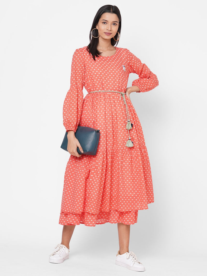 ZOLA Peach Printed Tiered Cotton Round Neck Dress for Women