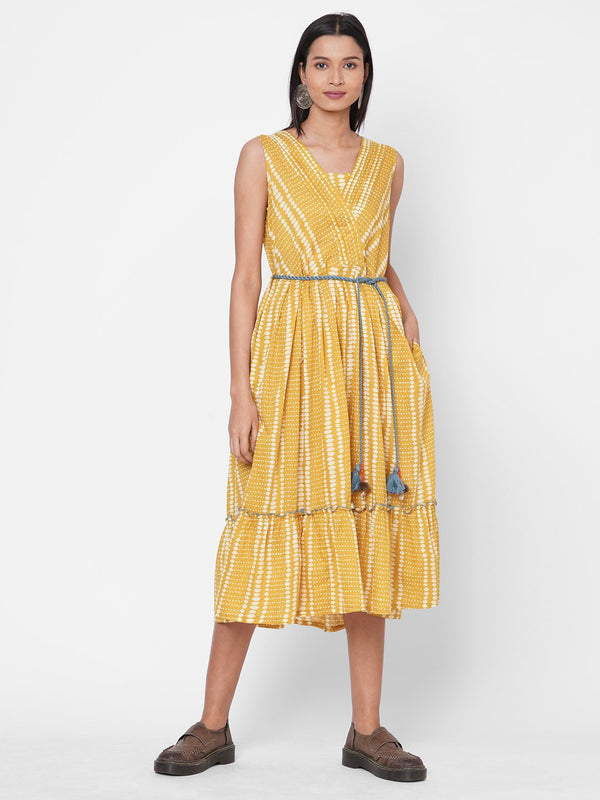 ZOLA Yellow Printed Sleeveless Cotton Round Neck Dress for Women