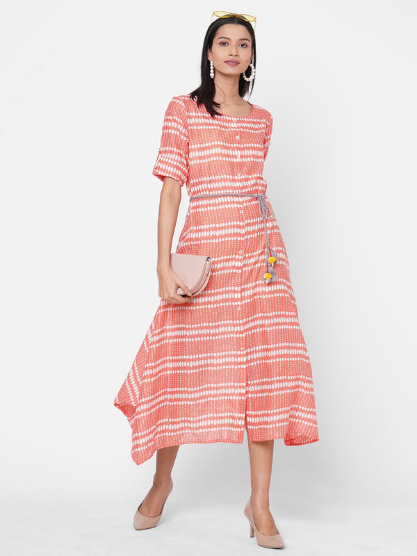 ZOLA Peach Printed Asymmetrical Hem Cotton Round Neck Dress for Women