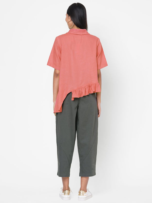 ZOLA Pink Solid Half Sleeves Co-ordinated Set for Women