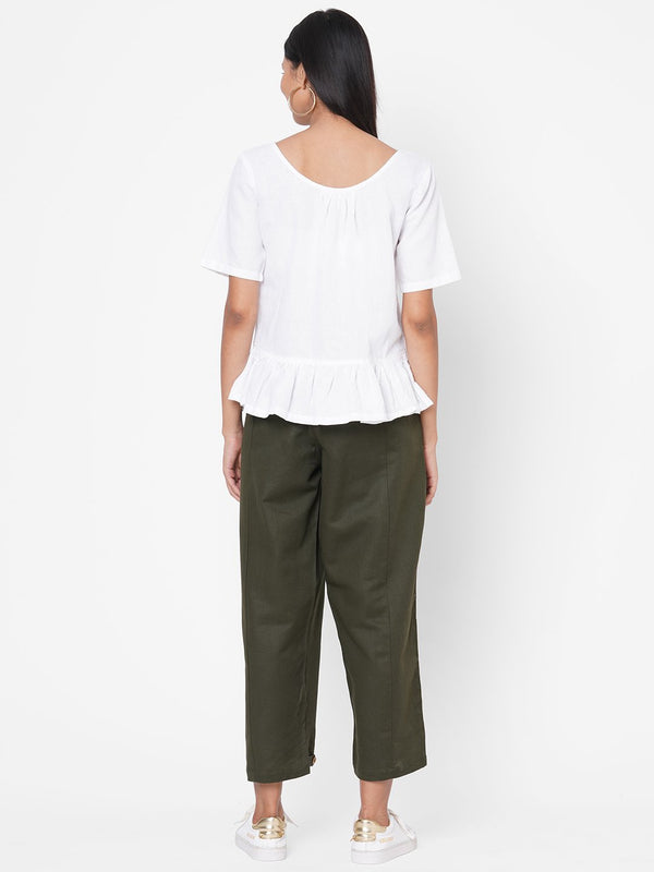 ZOLA White Solid Half Sleeves Cotton Co-ordinated Set for Women