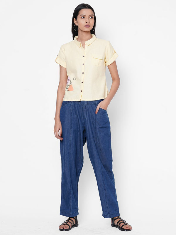 ZOLA Yellow Shirt and Pant Set for Women