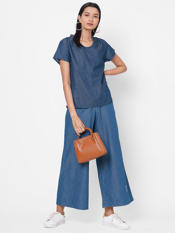 ZOLA Blue Solid Half Sleeves Denim Co-ordinated Set for Women