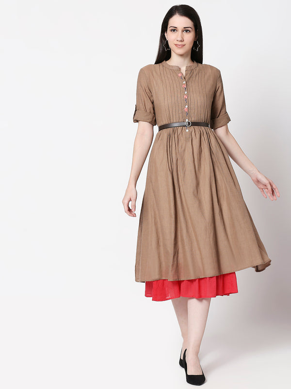 ZOLA Khaki Fit and Flare Hand Embroidered Dress for Women