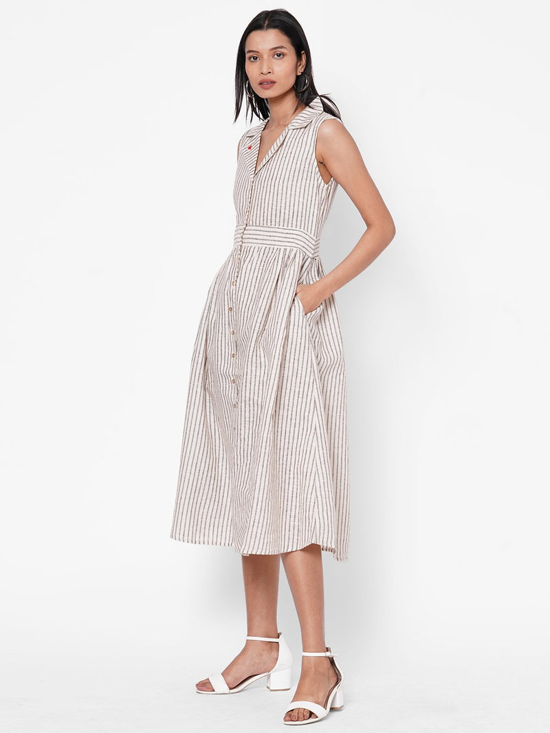 ZOLA Beige Striped Collar Neck Dress for Women