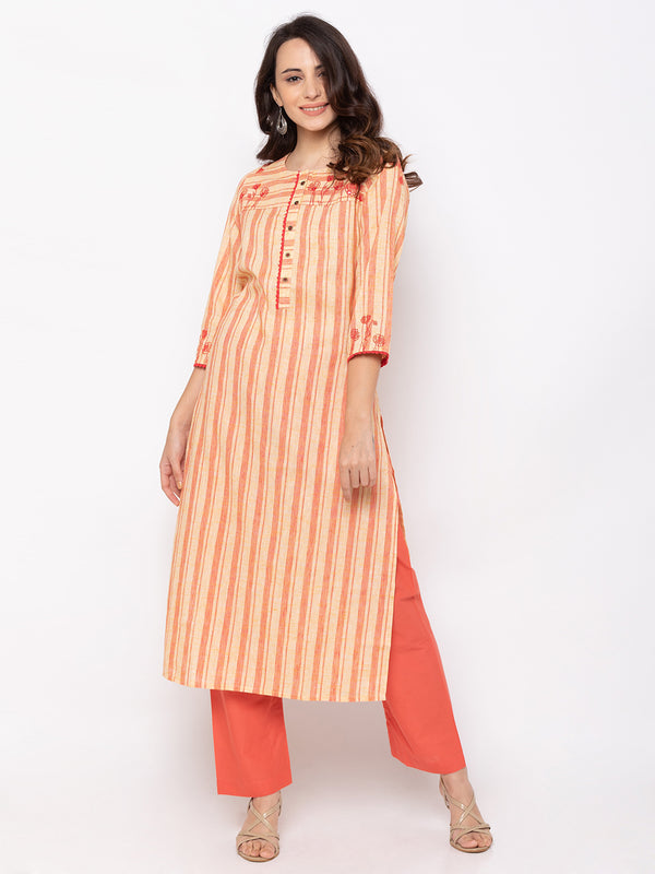 Beige Linen Round Neck Striped Kurti
