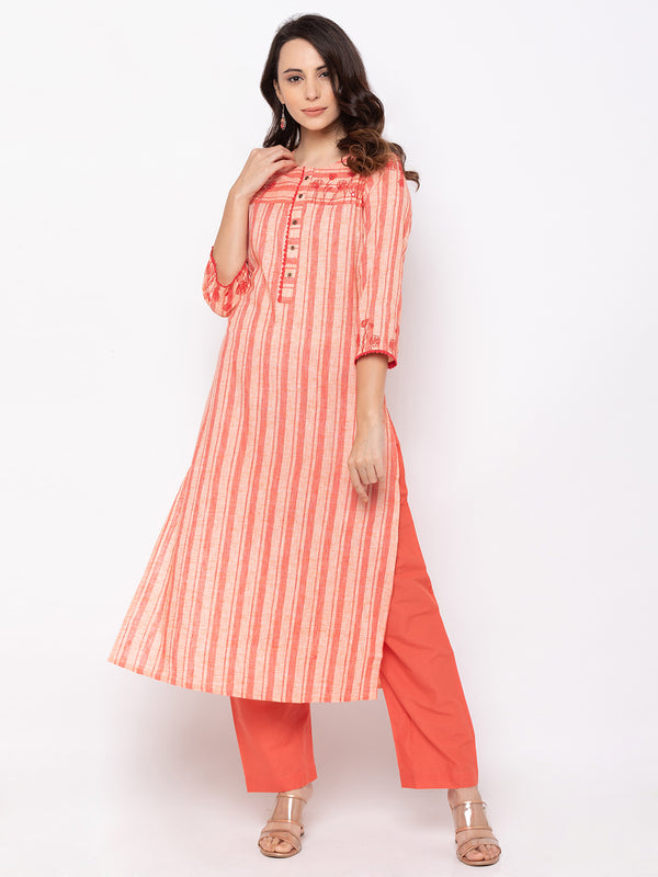 Popular Peach Linen Round Neck Striped Kurti