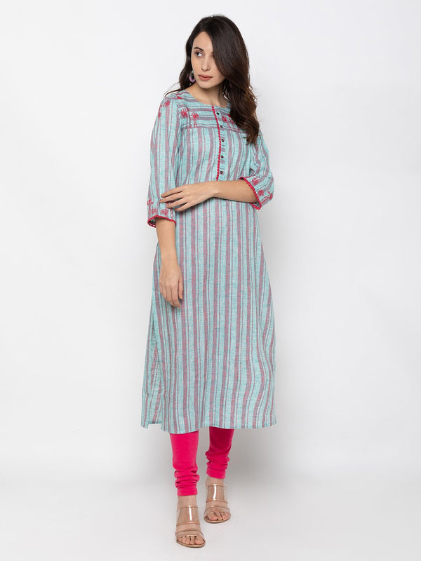 Sky Blue Linen Round Neck Striped Kurti