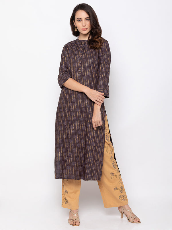 ZOLA Elegant Brown Cotton Chinese Collar Kurti + Palazzo Set