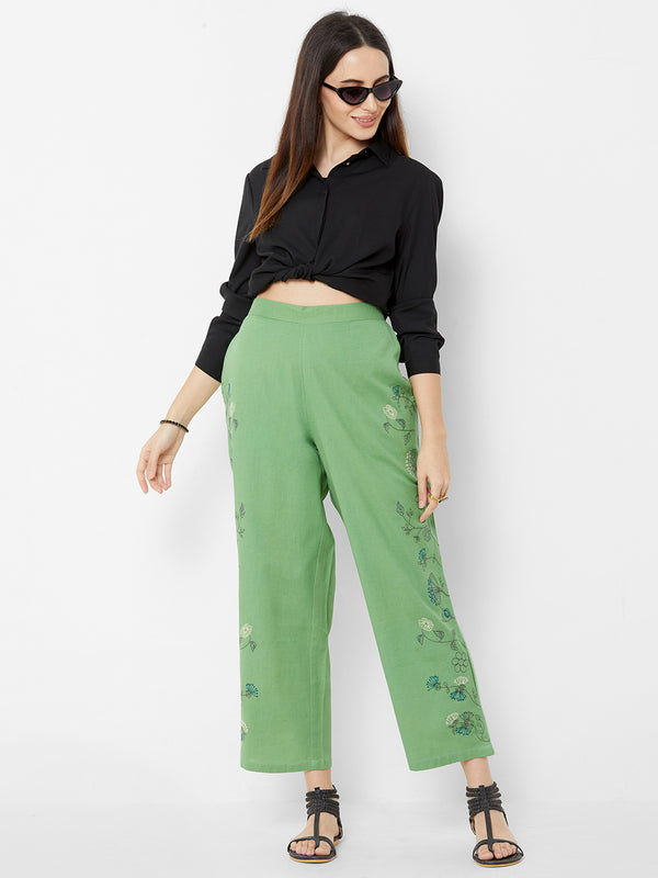 Floral Embroidered Pants Green