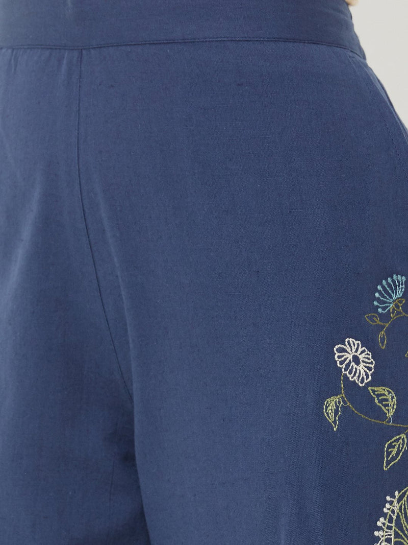 Floral Embroidered Pants Navy Blue