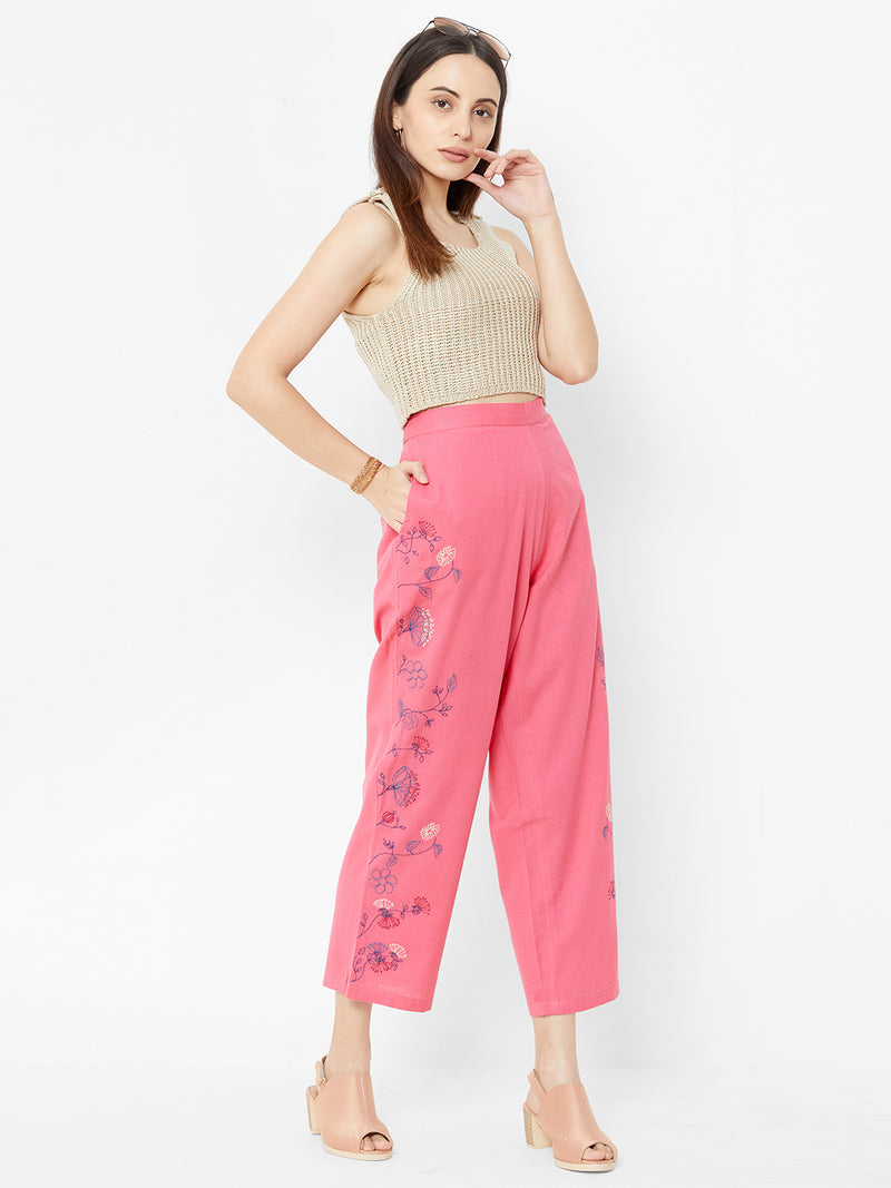 Floral Embroidered Pants Pink