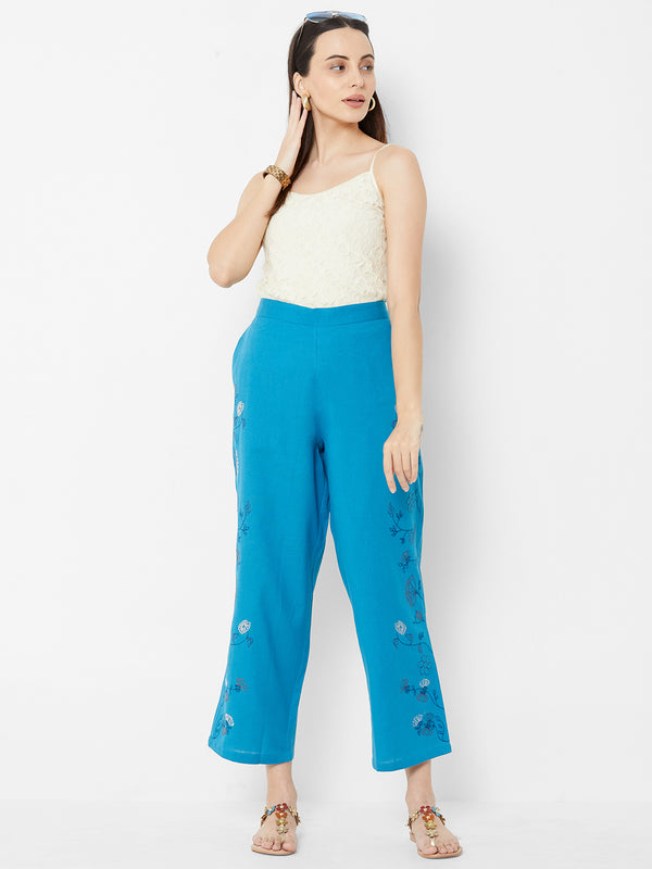 Floral Embroidered Pants Sky Blue