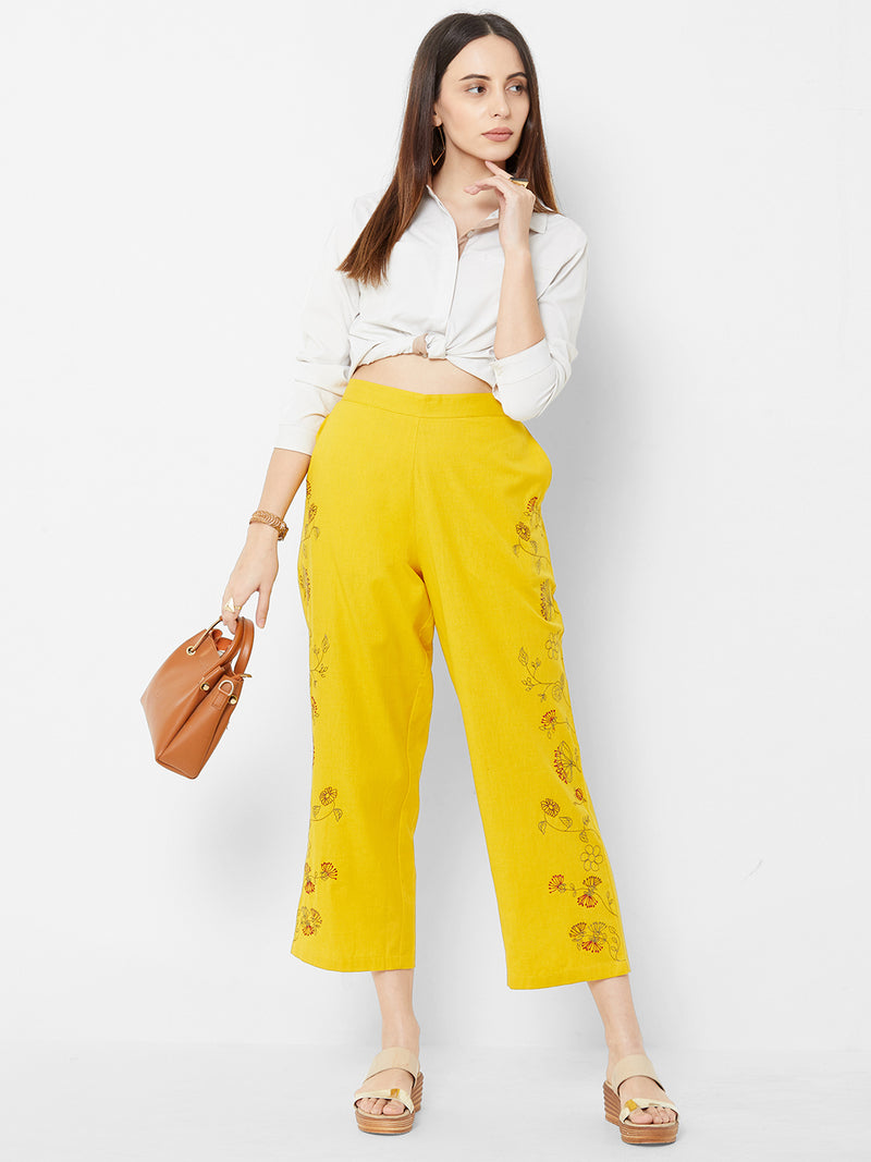 Floral Embroidered Pants Yellow