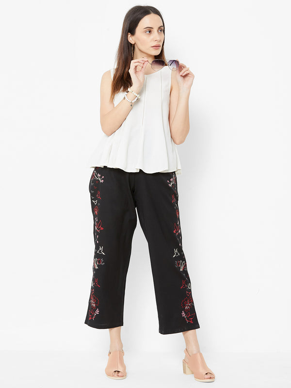 Nature inspired Embroidered Pants Black